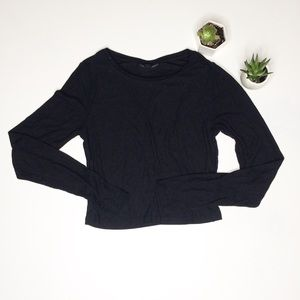 Topshop 6 Black Long Sleeve Crop Top